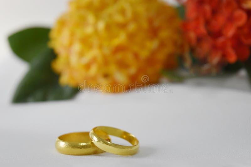 De gouden trouwring heeft een speciale dag Op de achtergrond is de gele en rode, lege ruimte van de onduidelijk beeldbloem voor t royalty-vrije stock afbeeldingen