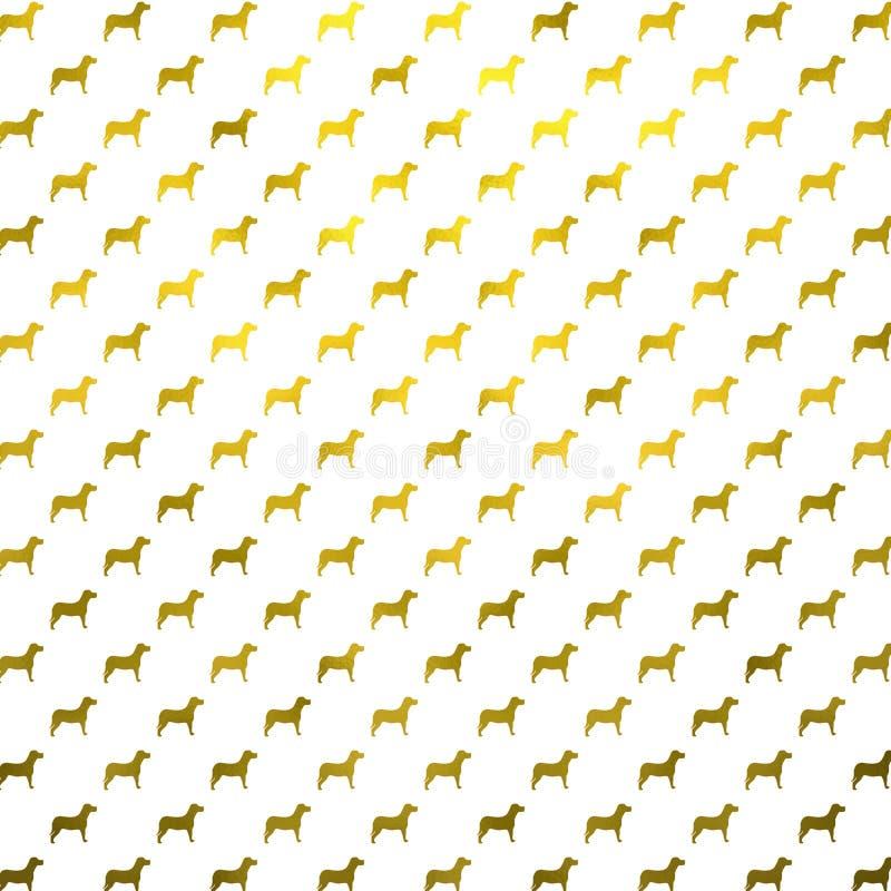 De gouden van de de Folie Metaalhond van Hondenfaux Polka Dots White Background royalty-vrije illustratie