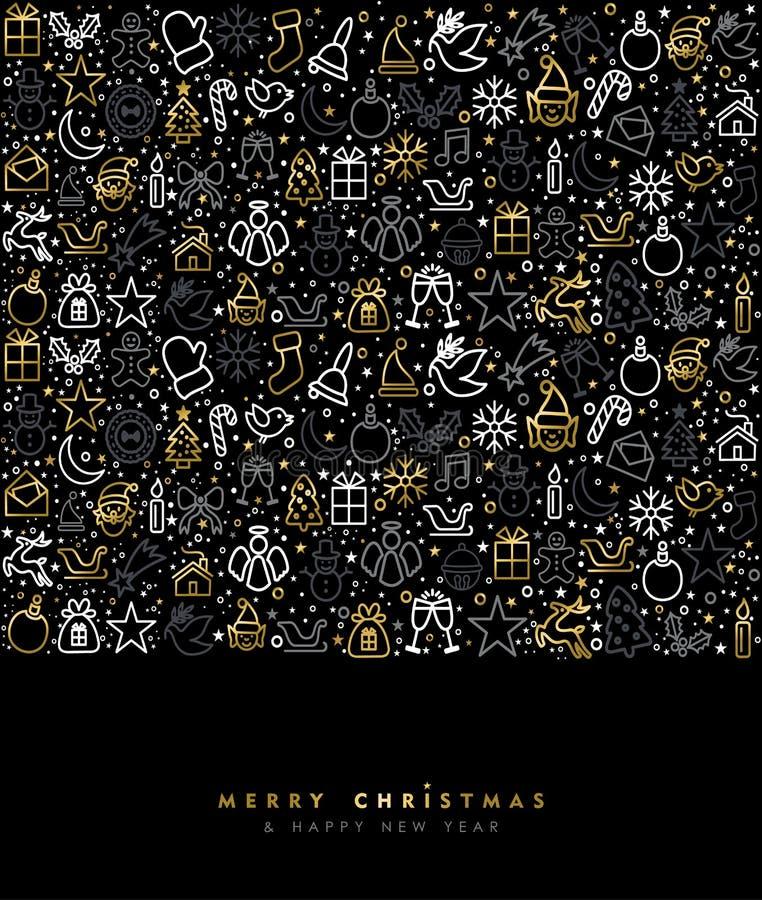 De gouden van de de lijnkunst van de Kerstmisvakantie kaart van de het pictogramgroet royalty-vrije illustratie