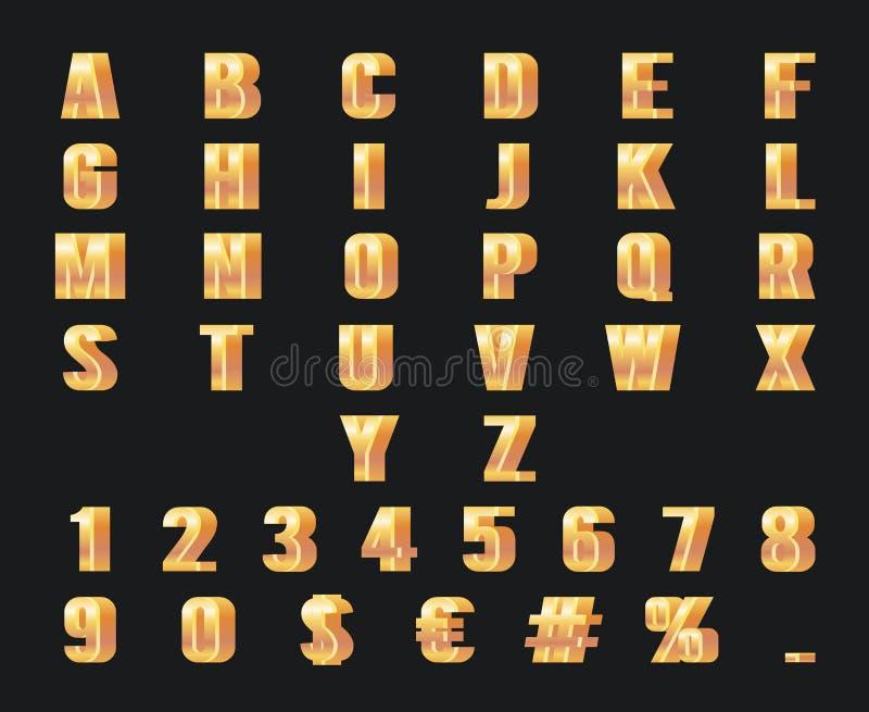 De gouden van het het alfabet gouden metaal van aantallenbrieven 3d van het de decoratieelement van het het symbool vastgestelde  vector illustratie