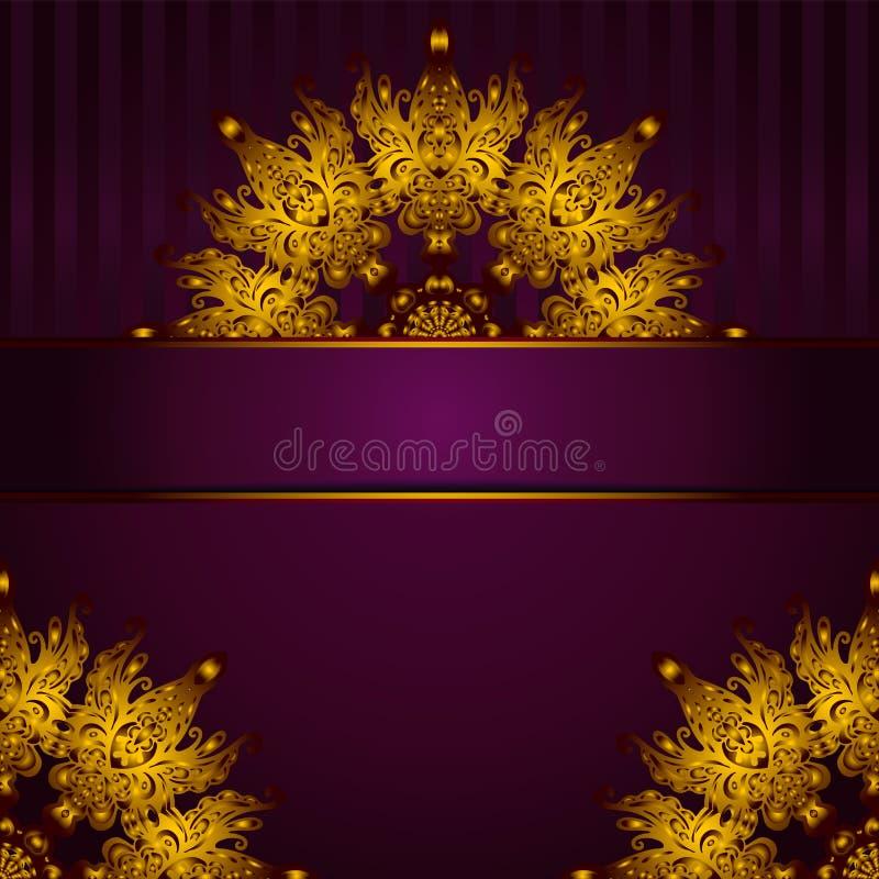 De gouden vector van het medaillon uitstekende kader stock illustratie