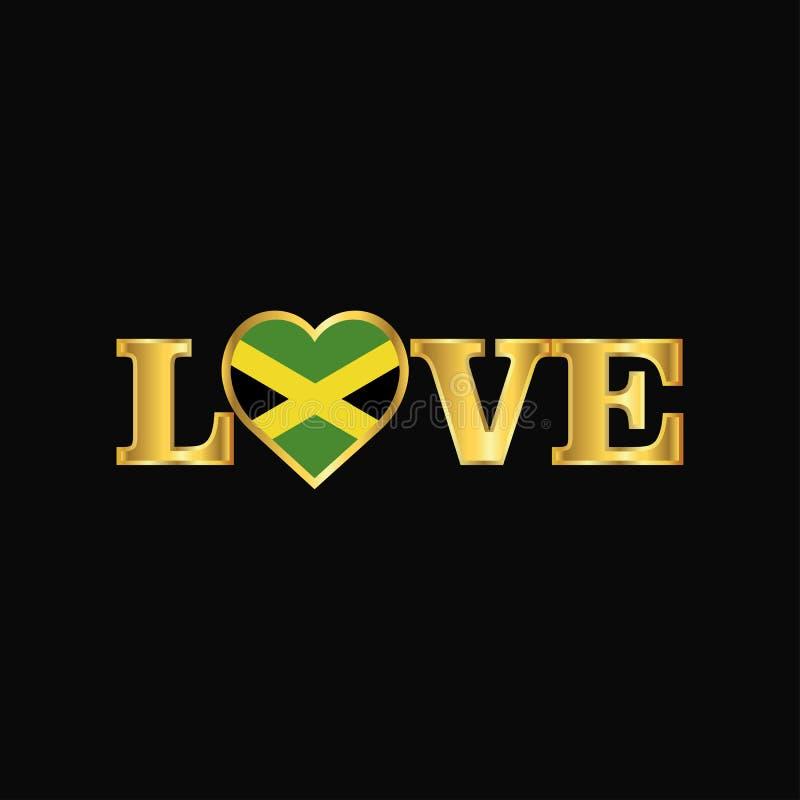 De gouden vector van het de vlagontwerp van Jamaïca van de Liefdetypografie royalty-vrije illustratie