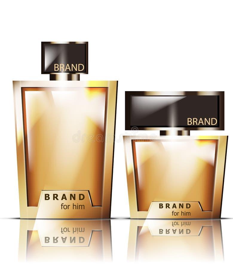 De gouden Vector van parfumflessen Product die realistische gedetailleerde 3d illustratie verpakken Luxefragrances stock illustratie