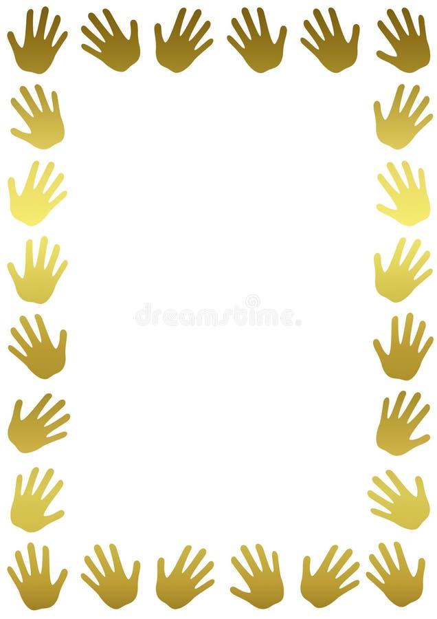 De gouden Verticale Grens van het Handenkader stock illustratie