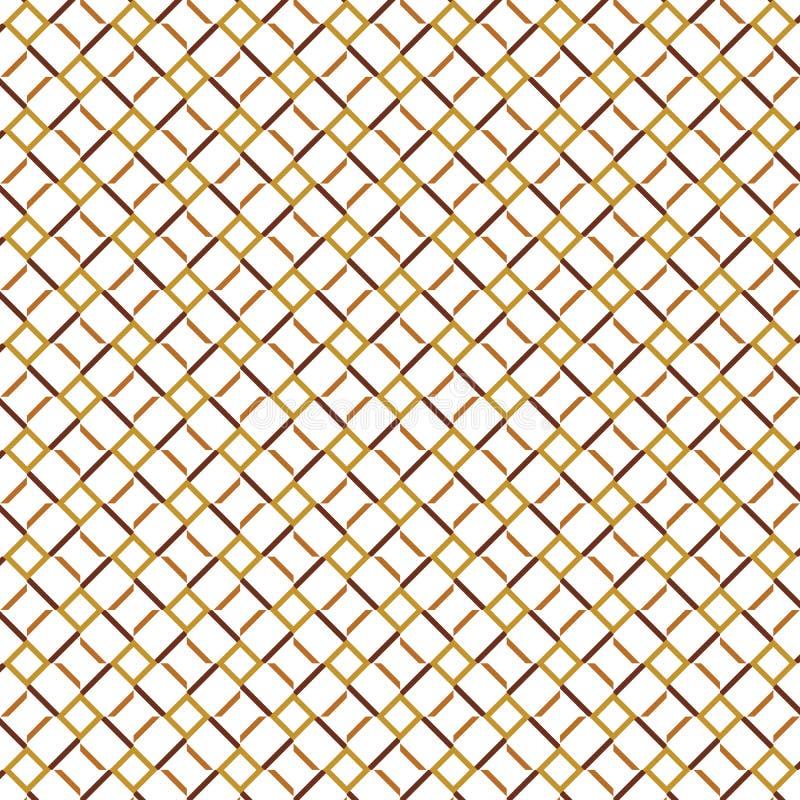 De gouden Vierkante Omheining Grid Pattern Background van de Lijnkubus vector illustratie