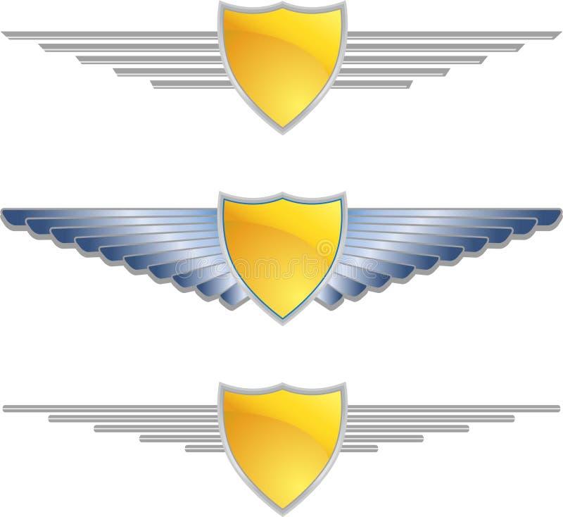 De gouden Vleugels van het Schild vector illustratie