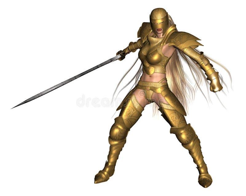 De gouden Vrouwelijke Strijder van de Fantasie - het vechten stelt vector illustratie