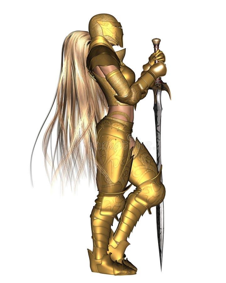 De gouden Vrouwelijke Strijder van de Fantasie - ontspannen bevindend p vector illustratie