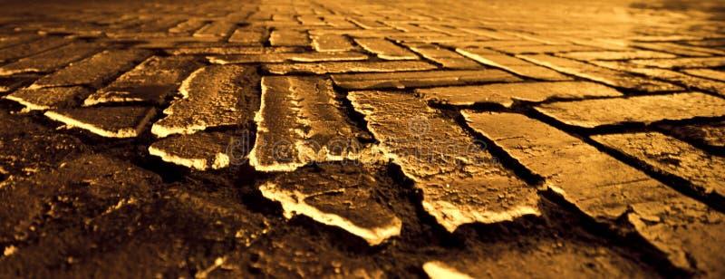 De gouden Weg van de Baksteen stock foto