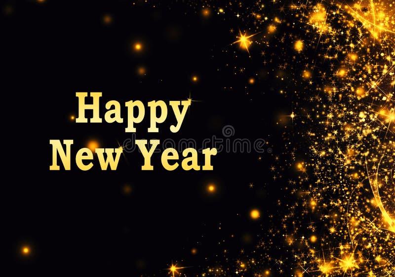 De gouden zwarte Kerstmis of Nieuwjaarachtergrond met schittert, sneeuwvlokken, sterren, bokeh gouden lichten, feestelijke donker royalty-vrije stock foto