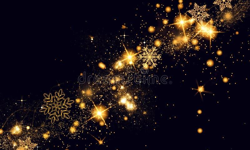 De gouden zwarte Kerstmis of Nieuwjaarachtergrond met schittert, sneeuwvlokken, sterren, bokeh gouden lichten, feestelijke donker royalty-vrije stock fotografie