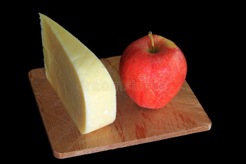 De Goudse kaas van wigsmocked en Organisch Apple royalty-vrije stock afbeeldingen
