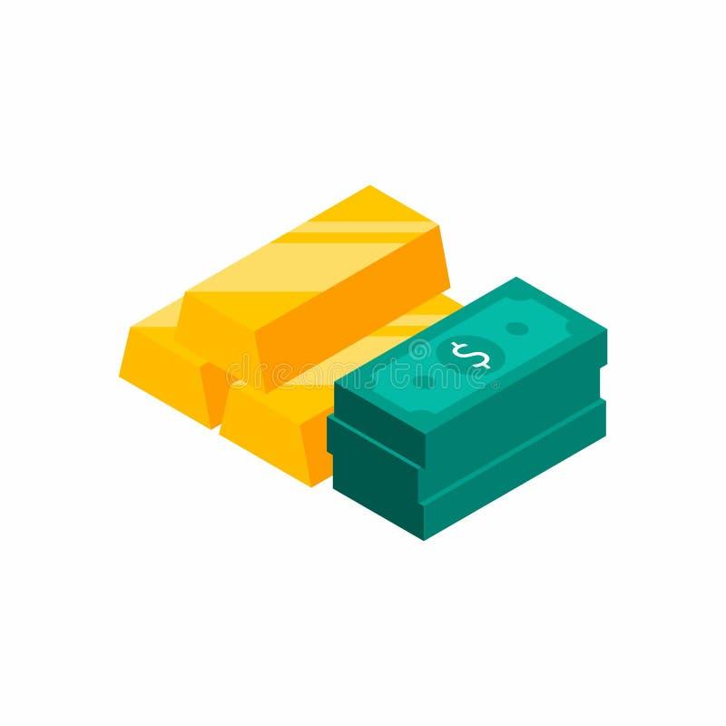 De goudstaven stapelen zich, Dollarsbundels, Geld, Dollar, Isometrische Stapel van geld op, Financiën, Zaken, Geen achtergrond,  vector illustratie
