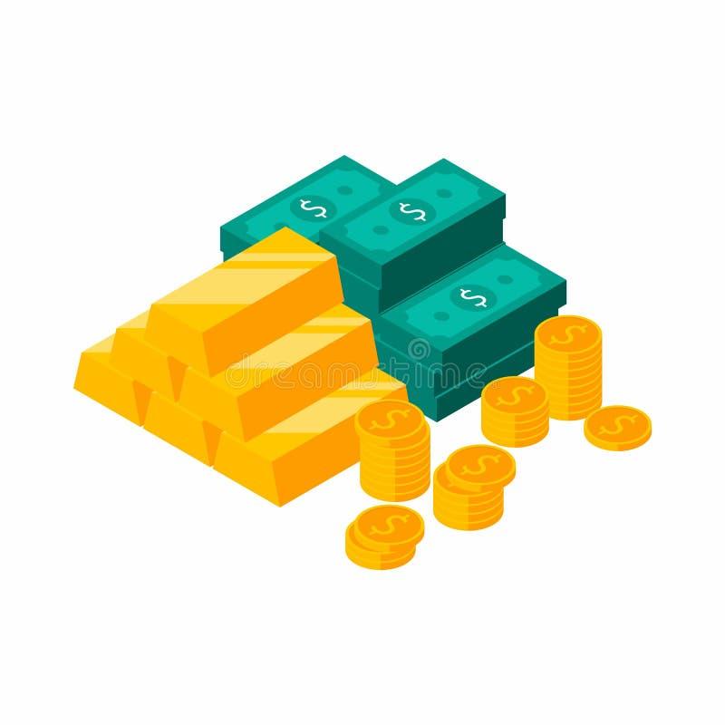 De goudstaven stapelen zich, Dollarsbundels, Geld, Dollar, Stapel van geld, Isometrisch Muntstuk op, Financiën, Zaken, Geen acht vector illustratie