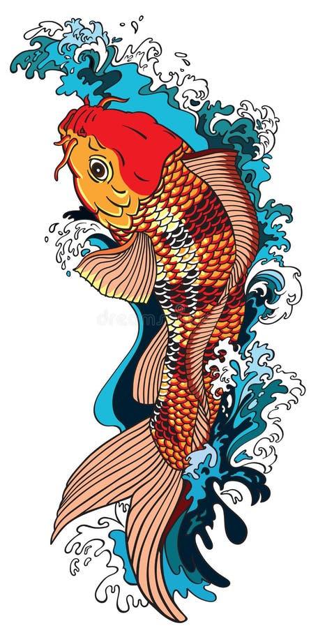 De goudvis die van de Koikarper stroomopwaarts zwemmen stock illustratie