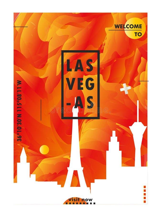 De gradiënt van de de horizonstad van de V.S. de Verenigde Staten van Amerika Las Vegas vec vector illustratie
