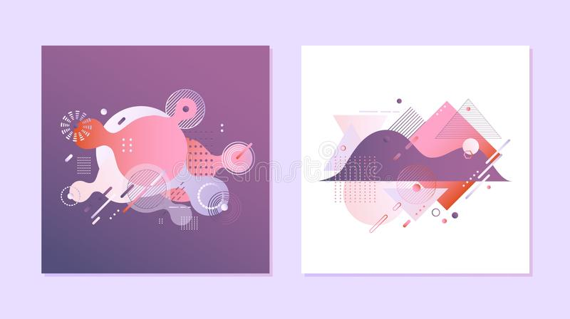 De gradiëntbanners plaatsen - vloeibare geometrische kleurensamenvatting en borrelen vormen op violette en witte achtergronden stock illustratie