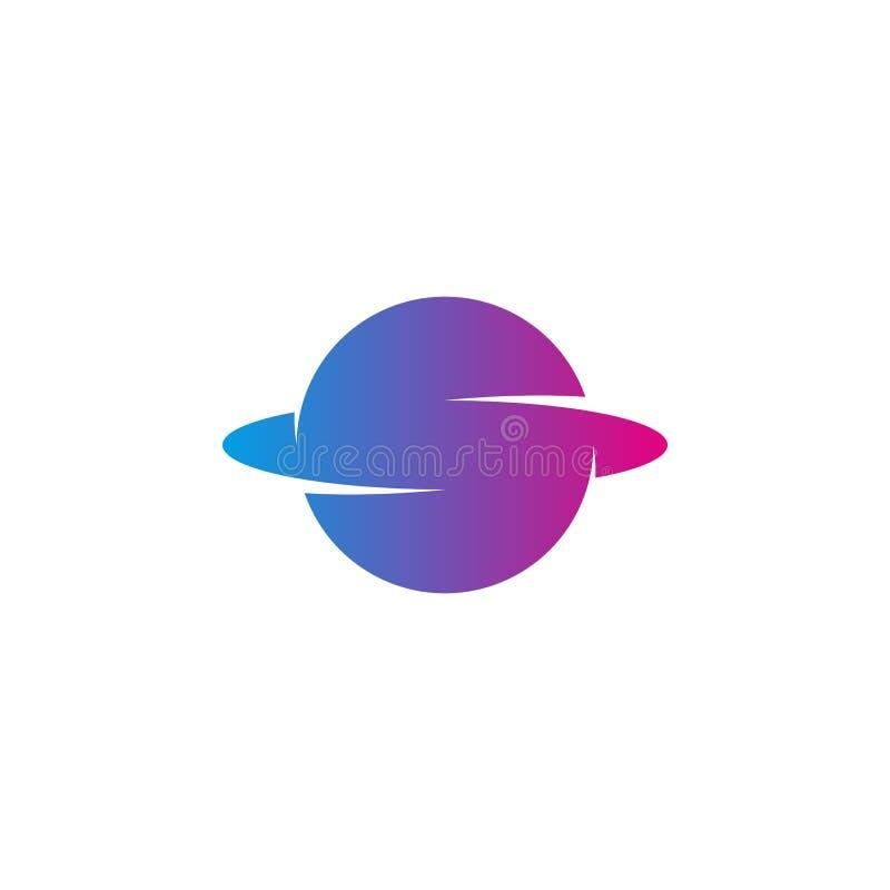 In de gradiëntkleur van het brievens embleem, planeetvorm met pictogram van baan het super technologie, het moderne ontwerp van h stock illustratie