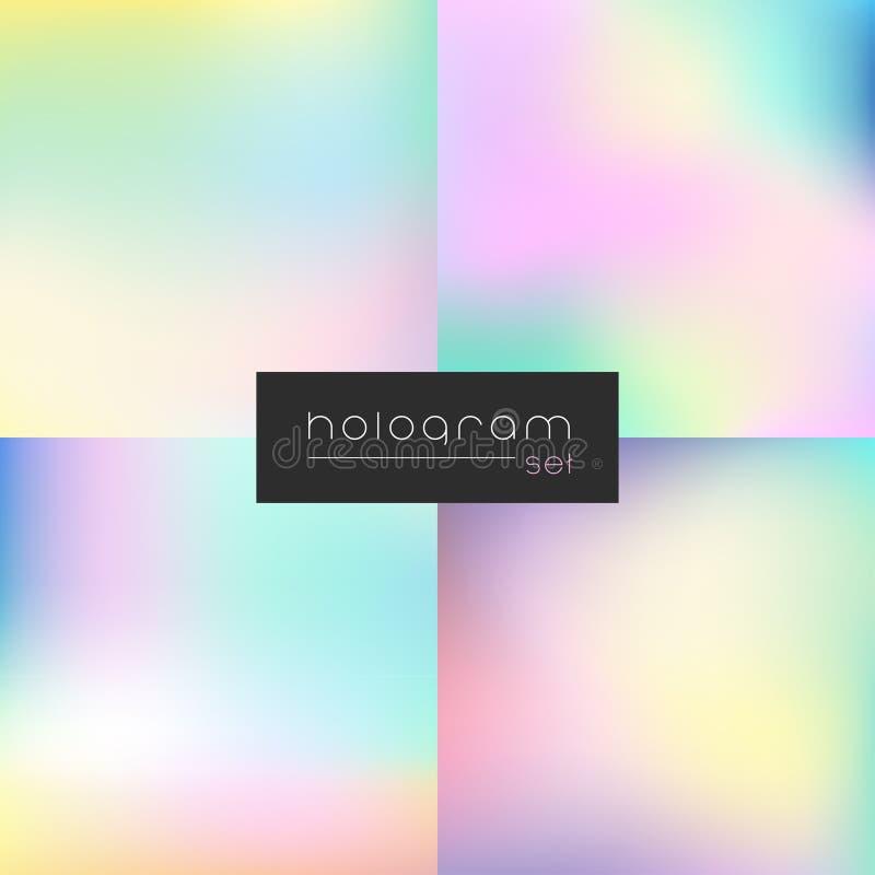 De gradiëntreeks van de hologram vectorregenboog vector illustratie