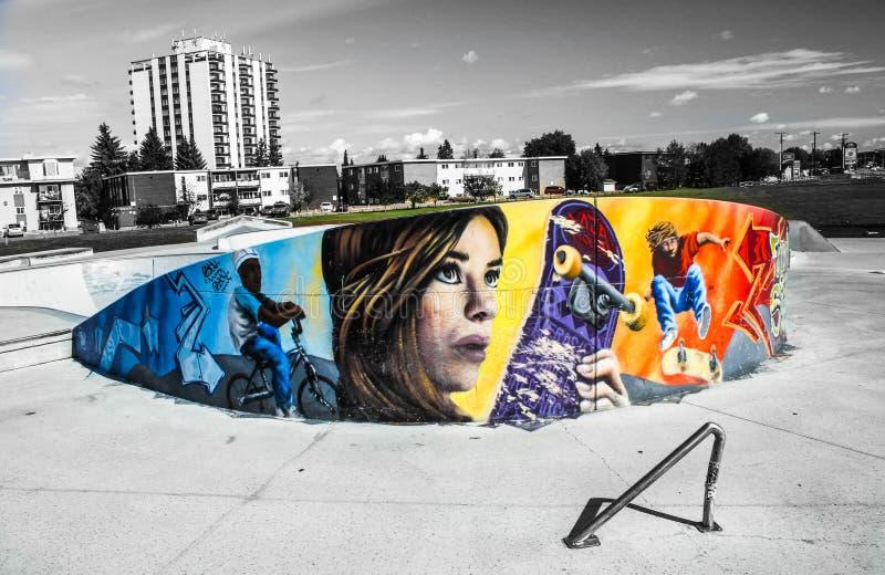 De graffiti en de grafiek van het skateboardpark stock foto's