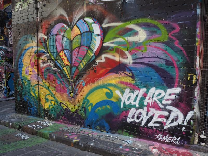 De graffiti - Kleurrijk Hart - wordt u gehouden van royalty-vrije stock afbeeldingen