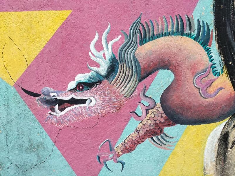 De graffitimuur van de draakillustratie stock foto's
