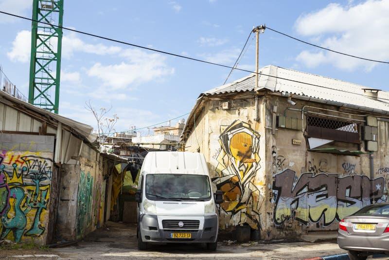 De graffitimuur van de straatmening in Tel Aviv, Florentin, Israël royalty-vrije stock foto's