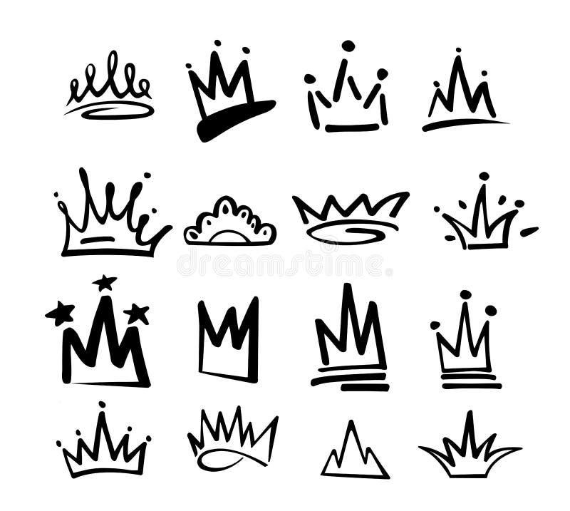 De graffitipictogram van het kroonembleem Zwarte die elementen op witte achtergrond worden geïsoleerd Vector illustratie Koningin vector illustratie