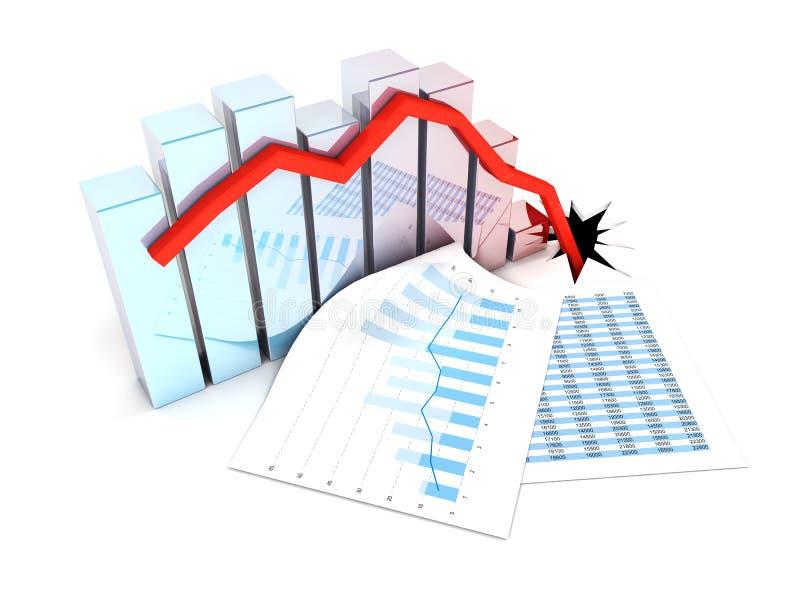 De grafiek daalt stock illustratie