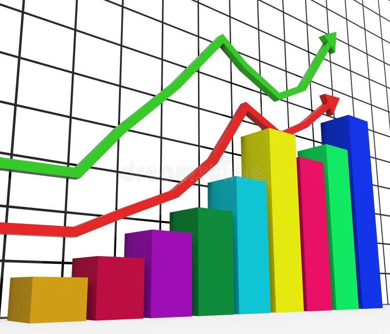 De grafiek die wijst de Groei op Statistieken en Verhoging stijgen vector illustratie