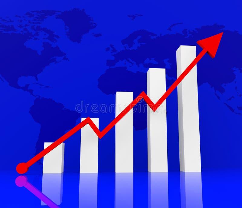 De grafiek die wijst op Financieel verslag en Diagram stijgen royalty-vrije illustratie