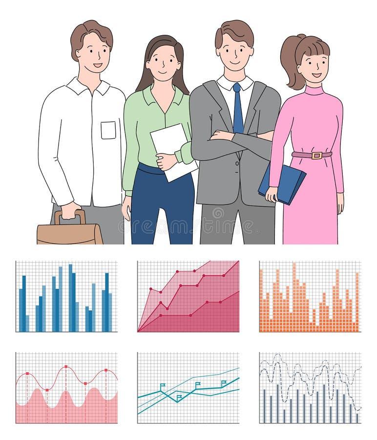 De Grafiek en de Grafiekpictogrammenvector van de groepswerkpresentatie vector illustratie