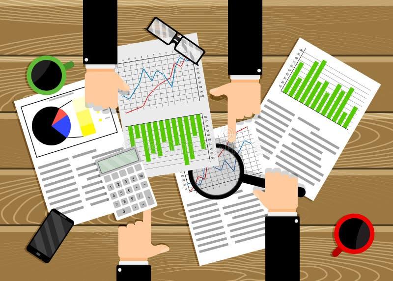 De grafiek en het diagram van analysegegevens De zaken van het teamwerk vector illustratie