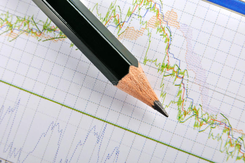 De grafiek en het potlood van de voorraad stock afbeelding