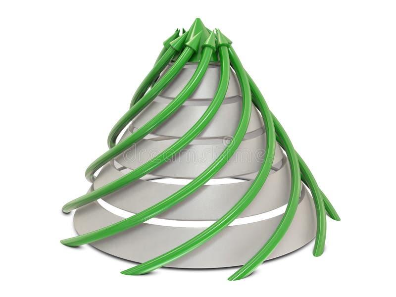 De grafiek groen-wit van de kegel met spiraalvormige groene pijlen vector illustratie