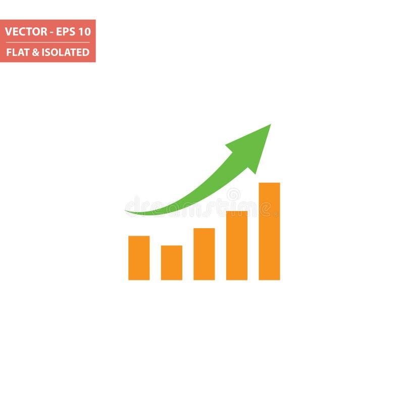 De grafiek isoleerde omhoog vlak pictogram vector illustratie