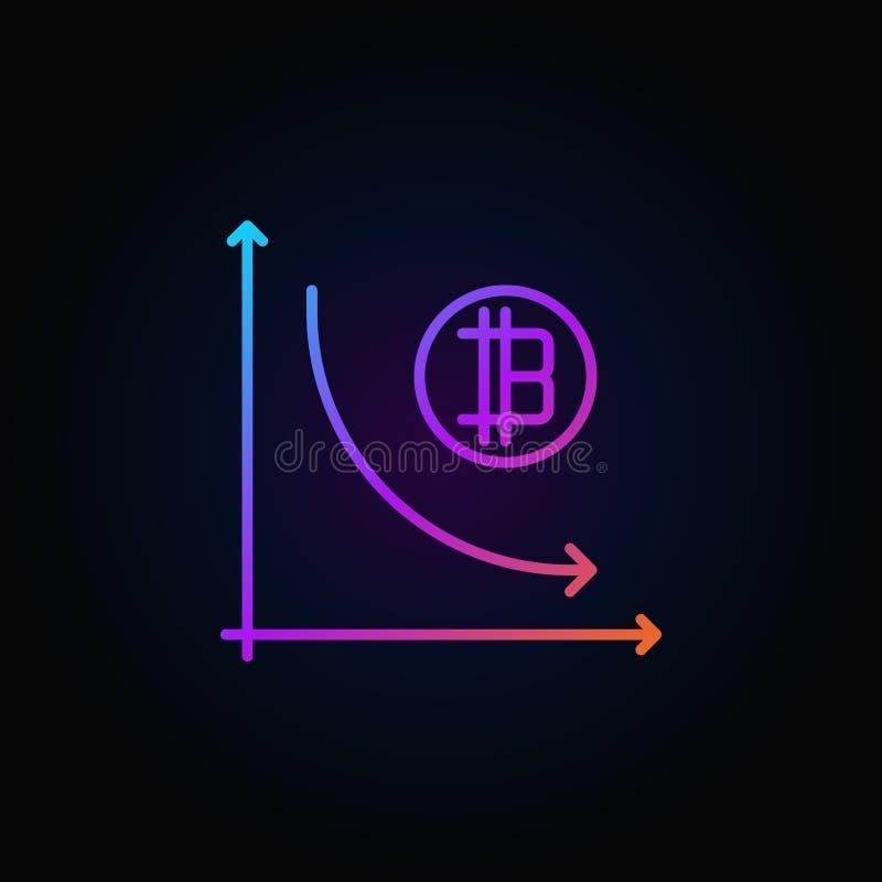 De grafiek kleurrijk pictogram van de Cryptocurrencydaling stock illustratie
