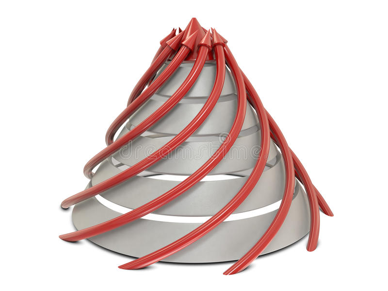 De grafiek rood-wit van de kegel met spiraalvormige rode pijlen vector illustratie