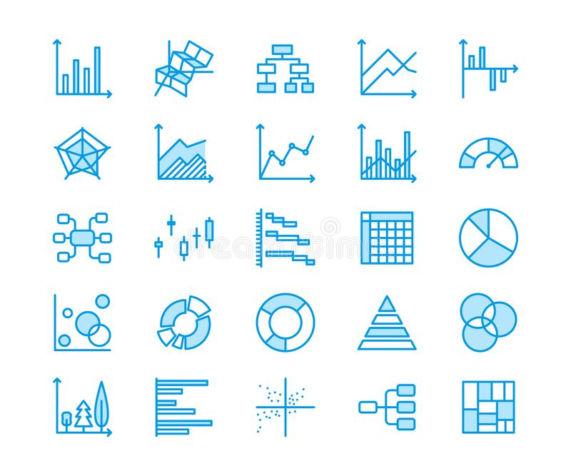 De grafiek typt vlakke lijnpictogrammen Lineaire grafiek, kolom, het diagram van de pasteidoughnut, infographic financieel versla vector illustratie
