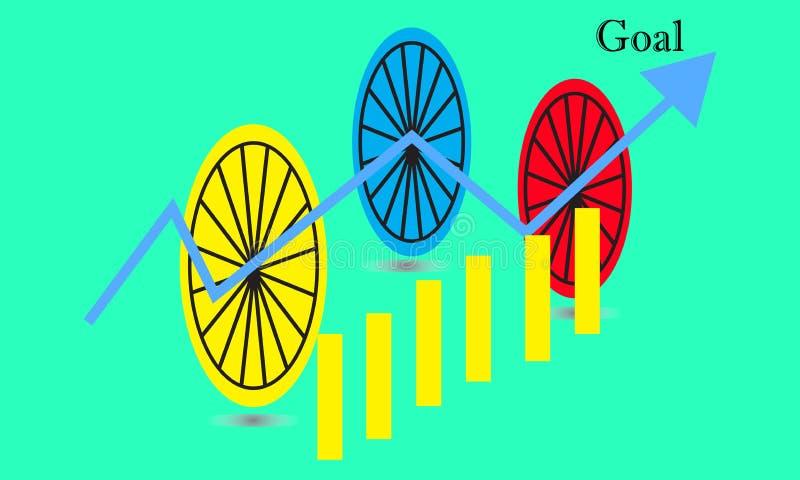 De grafiek van de bedrijfsstokgrafiek van effectenbeursinvestering handel tendens van grafiek vectorontwerp vector illustratie