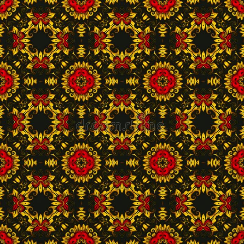 De grafiek van de computer Illustratie van een abstracte achtergrond, een psychedelisch symmetrisch decoratief patroon Traditione stock illustratie