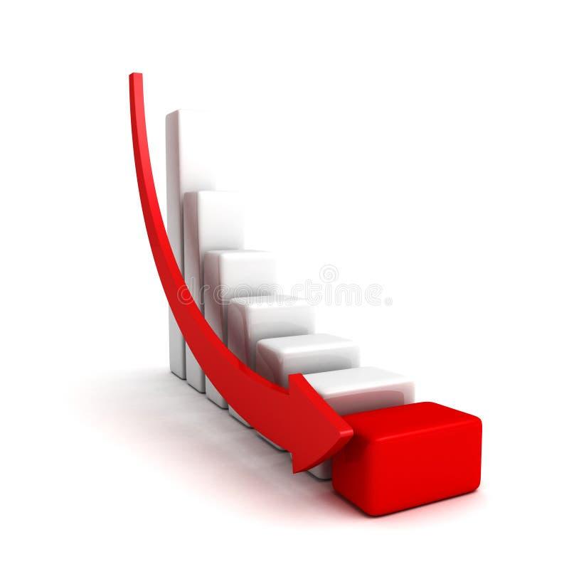 De grafiek van crisisfinanciën met het vallen onderaan pijl vector illustratie
