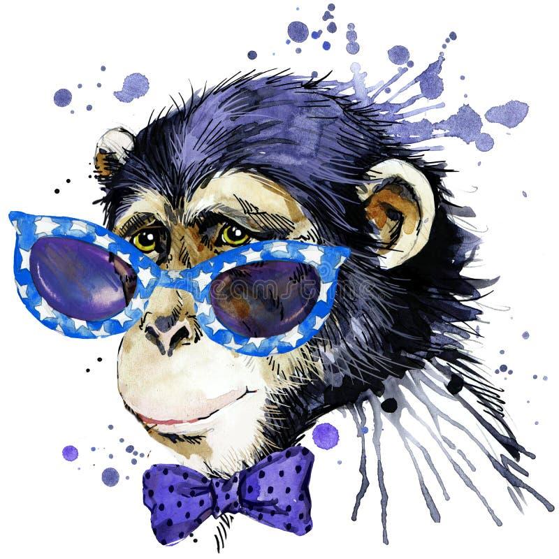 De grafiek van de aapt-shirt aapillustratie met de geweven achtergrond van de plonswaterverf de ongebruikelijke aap F van de illu stock illustratie