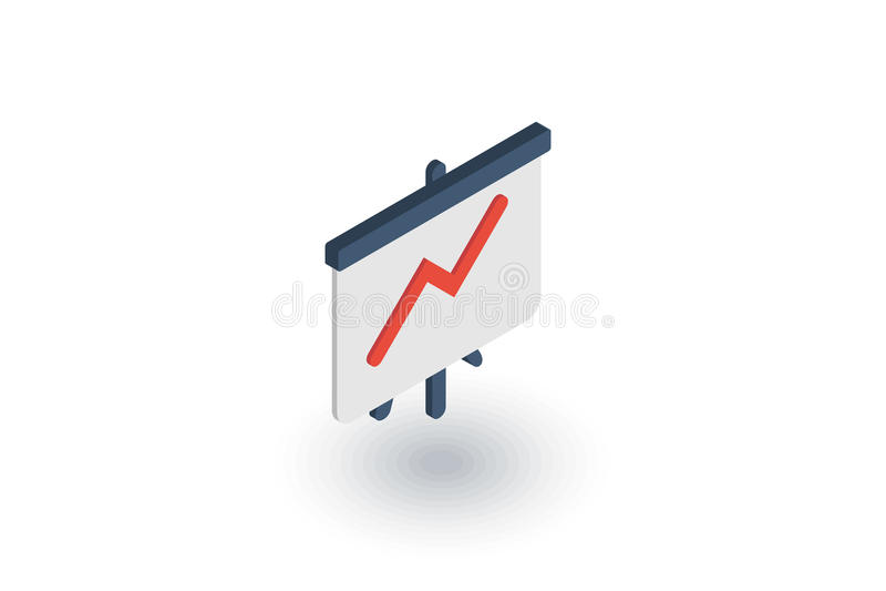 De grafiek van de de groeigrafiek, marktsucces, pijl omhoog isometrisch vlak pictogram 3d vector royalty-vrije illustratie