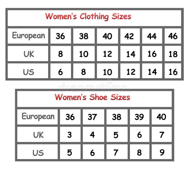 De grafiek van de de kledingsgrootte van vrouwen stock illustratie