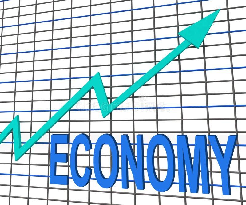 De Grafiek van de economiegrafiek toont Economische Verhoging royalty-vrije illustratie