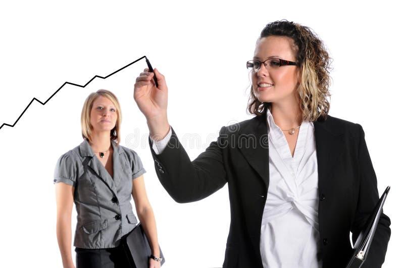 De Grafiek van de Groei van de Tekening van de onderneemster stock afbeelding