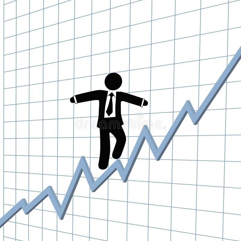 De grafiek van de het strakke koordgroei van het bedrijfsmensenrisico vector illustratie