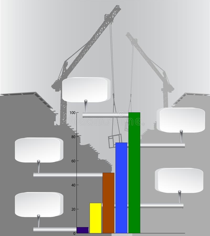 De grafiek van de Infographicskolom met de industrieachtergrond en kranen stock illustratie