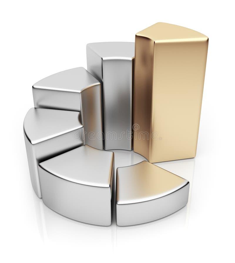 De grafiek van de ring. Bedrijfs 3D diagram. Pictogram stock illustratie